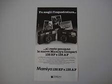 advertising Pubblicità 1981 MAMIYA 135 EF e 135 AF