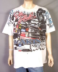 vintage 90s All Over Print Dale Earnhardt T-Shirt NASCAR Racing Black Knight XL