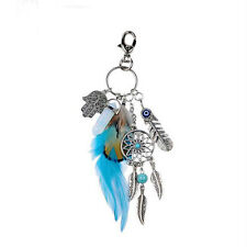 Metal Key Chain Ring with Feather Dream Catcher White Stone Pendent Keyring