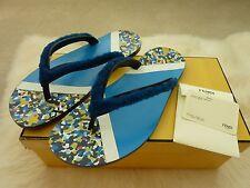 "FENDI $600 Men's Blue ""Confetti"" Sheep Fur Flip-Flop Sandals 9UK 10 US NEW Box"
