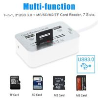 Chic 3 Ports Aluminum USB 3.0 5Gbps Hub With MS SD M2 TF Multi-In-1 Card Reader
