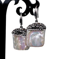 Silver Plated White Baroque Freshwater Cultured Square Pearls Dangle Earrings