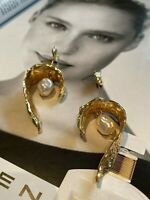 Latoir Instagram Fashion Blogger Gold Pearl Leaf Drop Dangle Statement Earrings