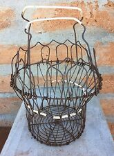 PRIMITIVE OLD KITCHEN WIRE BASKET W/HANDLE EGG COUNTRY VINTAGE RUSTY OLD