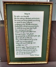 """Footprints Poem Framed Vintage Religious Embroidered Picture 18.5"""" x 13"""""""