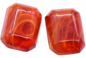 Glass Givre Octagons Cabochons Cherry Brand Rare Amber Cabochons 15 x 19 mm VTG