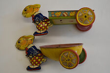 Vintage Tin Lithographed Toy Rabbit Bunny Pulling Cart Wagon Easter J Chein x2