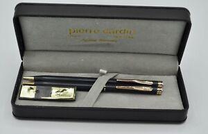 VTG Black Satin 18kt Gold Plate Pierre Cardin Pen Pencil Set Gift box/warranty