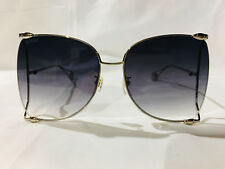 c4aa1f419a2 Authentic New Gucci Sunglasses GG0252S 0252S Silver Smoke Blue Pearl  Oversize