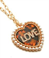Valentine Day Gold Pearl Covered Heart Shape Necklace Pendant W/Love Print.