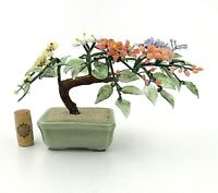 Vintage 1980's Chinese JADE & AGATE STONE Blossom Bonsai Tree Signed Celadon Pot