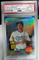 2017 Topps Heritage Corey Seager #440 Portrait Chrome Blue Refractor PSA10...