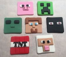 7 X edible minecraft cup cake toppers cupcake cake decoration mine craft Fondant