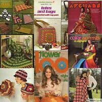 Knitting Crochet Patterns Afghans 70s Retro Rad Patterns - You Pick