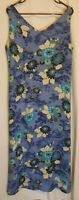 JH Collectibles Sleeveless Blue Floral Lined Summer Dress Size 14