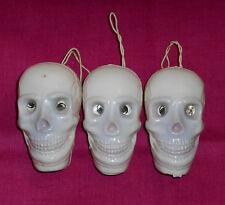 vintage Halloween plastic Lot x3 Skull Decoration ornament with flicker eyes
