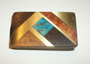 Vintage Modernist Designer Brass Wood Turquoise Men's Money Clip Estate Fresh!