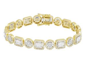 10K TT Yellow/White Gold Baguette Halo Cluster Real Diamond Bracelet 9.1CT 8....