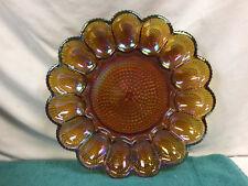 Indiana Carnival Glass Deviled Egg Platter Plate Iridescent Amber Mid Modern