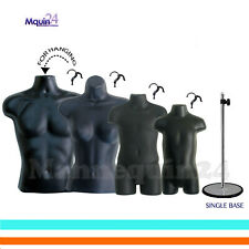 Male Female Child Toddler Torso Mannequin Forms Set Black +1 Stand + 4 Hangers