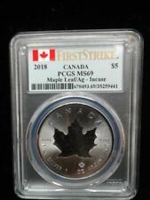 2018 1oz .9999 Fine Silver Canada Maple Leaf Incuse PCGS MS69 First Strike