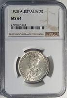 1928  Australia Silver Florin NGC 64 Choice UNC Coin RARE