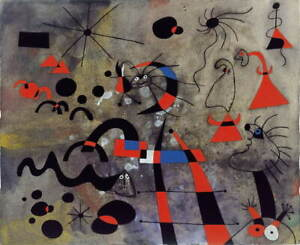 Joan Miro The Escape Ladder Poster Reproduction Paintings Giclee Canvas Print