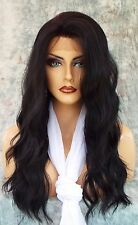 LACE FRONT HAND TIED EAR 2 EAR LACE HEAT FRIENDLY #1 SOFT BLACK WIG US SELL 117