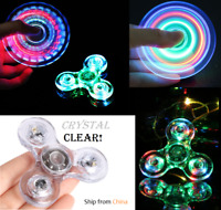 CRYSTAL CLEAR LED Light Tri Spinner Fidget EDC Hand Spin Autism ADHD Gyroscope