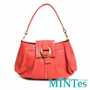 Auth Bvlgari leather One Shoulder Bag Red Orange [Used]