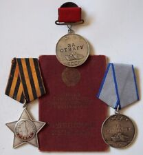 VERY RARE Russian Soviet -One Order and Тwo Medals with the Document