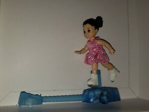 CHESEA DARK HAIRED  DOLL WITH PIGTAILS, CUTE ICE SKATING SET W/STAND