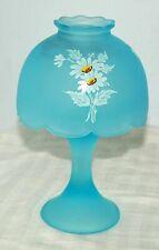 Vintage Westmoreland Daisy Satin light blue fairy lamp blue base stamped