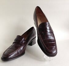 "Ralph Lauren Brown Crocodile Print Leather 2"" Block Heel Loafer Shoe UK 6b US 8b"