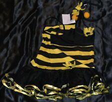 Bumble Bee Halloween Costume Fits Kids Size 4-5-6 With Headband Honey Yellow