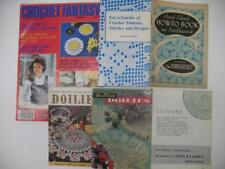 Lot (6) Vintage Illustrated Crochet Patterns Designs Doilies Magazines + Book