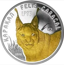 2011 1 Oz PROOF Silver CARACAL Coin With 24k Gold Gilded Kazakhstan, DIAMONDS..