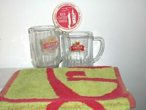 2 Castle Draught Lager Sturdy Hotel Quality Beer Glass Mugs Coaster & Bar Towel