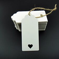 100pcs White Kraft Paper Tags for Wedding Favour Cards DIY Gift Tag with heart