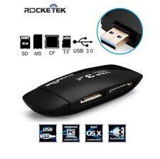 Lettore di Schede USB 3.0 a 4 Slot Rocketek per CF, MS, SD, Micro MAC / Windows