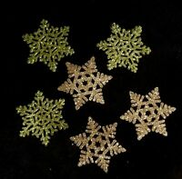 Green & Gold Glittered Hard Plastic Christmas Snowflake Ornaments Package Tie On