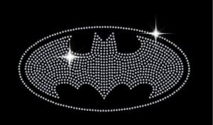 Batman Sparkling Rhinestone Diamonte Transfer Iron On Hotfix Motif Sparkle