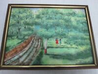 """SIGNED MINGOLLA LARGE 15.75"""" ENAMEL ON COPPER PAINTING 2 LITTLE GIRLS BY FOREST"""