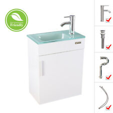 """19"""" White Bathroom Vanity Small Wall Mount Glass Sink Faucet Drain Combo P Trap"""