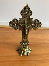 Green Chunky Wall Hanging/Standing Metal ✝️ Christian Crucifix Cross Orthodox