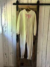 Vintage 50s Beige Pink Bunny Rabbit Bow Tie Pom Pom Costume with Ears Hood M/L