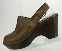 Ariat Slingback Clogs Closed Toe Brown Leather Platform Wedge Mules Womens 9.5 B
