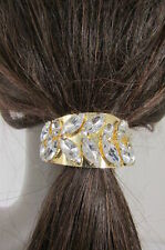 Women Gold Metal Ponytail Holder Silver Bling Fancy Fashion Hair Jewelry Dressy