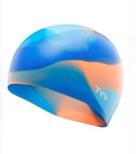 TYR Tie Dye BLUE/ORANGE Junior Swim Cap - 2020 SILICONE
