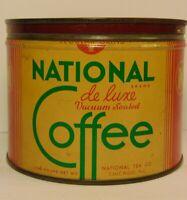 Vintage 1940s NATIONAL COFFEE TIN CAN 1 ONE POUND NATIONAL TEA CHICAGO ILLINOIS